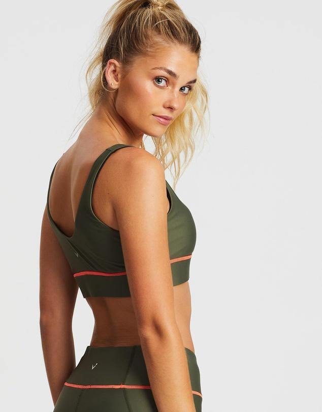 Sergeant Olive Pectoralis bra top, front view, great for pilates, barre and in-studio workouts
