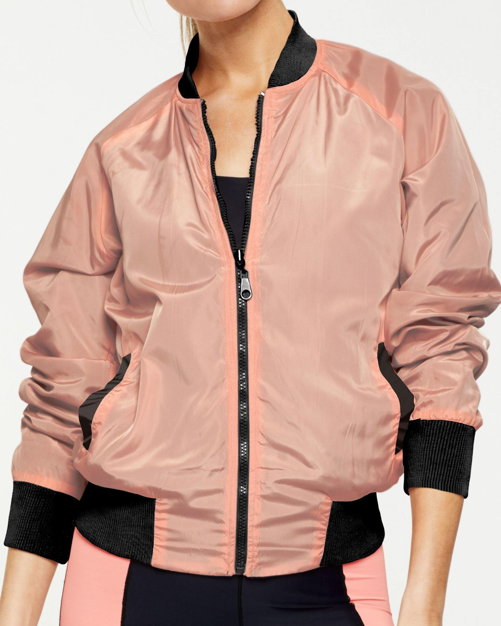 warrior PIKE REVERSIBLE JACKET, BLACK & PEACH, WORN OVER TRANSVERSE 7/8 BODY SUIT, PEACH SIDE, FRONT VIEW