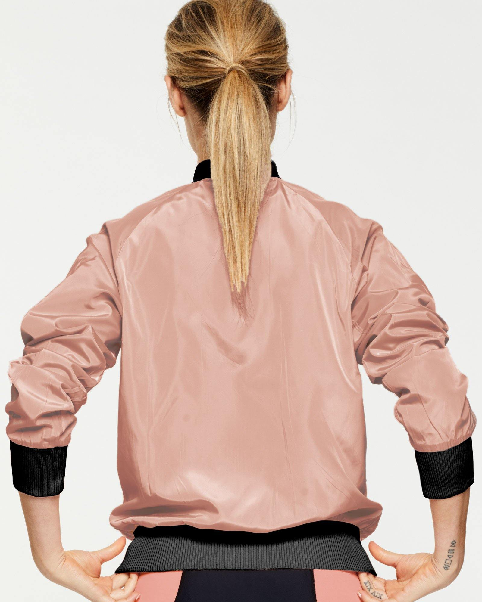 WARRIOR PIKE REVERSIBLE JACKET, BLACK & PEACH, WORN OVER TRANSVERSE 7/8 BODY SUIT, PEACH SIDE, BACK VIEW