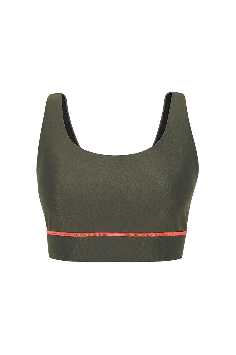 Sergeant Olive Pectoralis Olive bra top, front view, great for pilates, barre and in-studio workouts