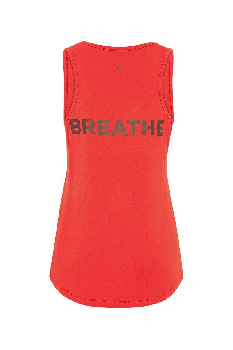 Sergeant Olive RHOMBOIDEUS Clementine orange TANK TOP,  message on front in khaki reads MORE CORE and on the back message is BREATHE, back view. Great for yoga, pilates, barre, physicore and all gym workouts