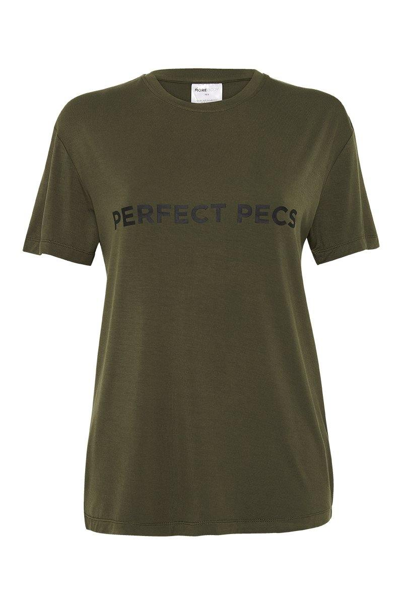 Sergeant Olive SCAPULAE Bamboo T-SHIRT, Khaki WITH black MESSAGING, FRONT VIEW. Great for outerwear or in-studio pilates, barre, yoga, gym workouts