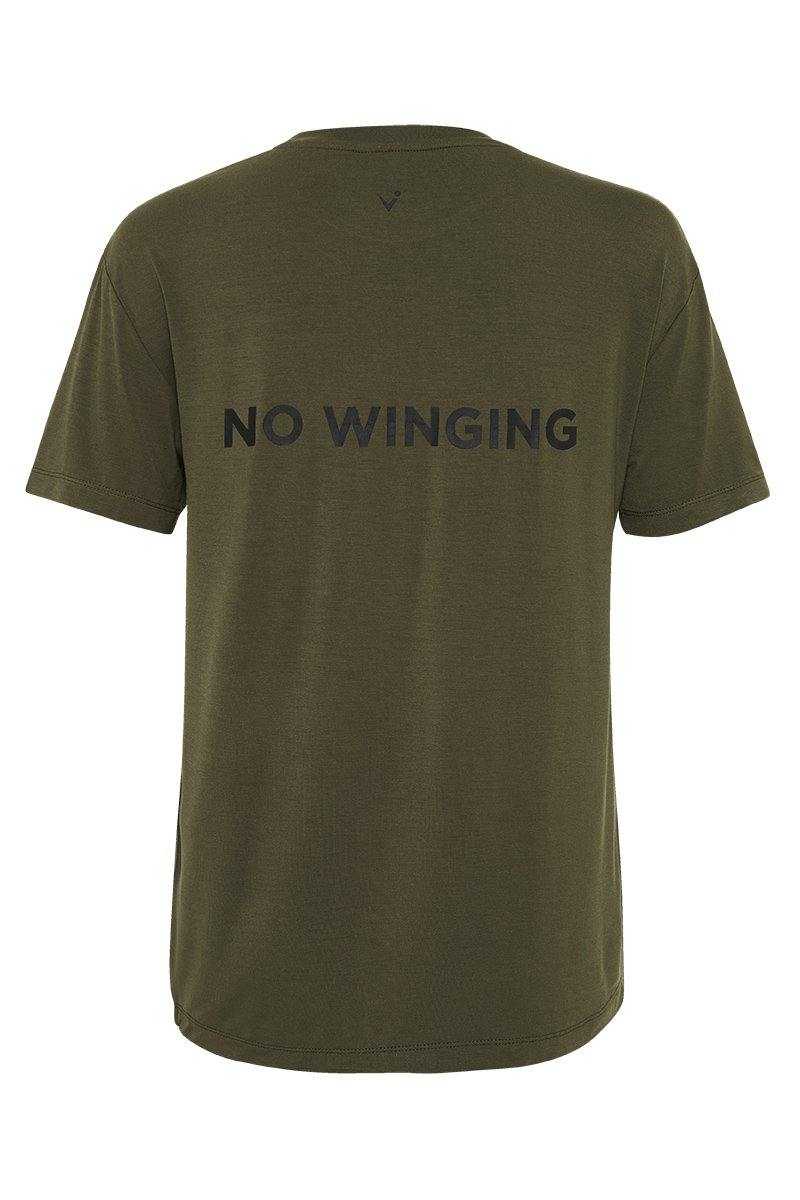 Sergeant Olive SCAPULAE Bamboo T-SHIRT, dark olive WITH black MESSAGING, FRONT VIEW. Great for outerwear or in-studio pilates, barre, yoga, gym workouts