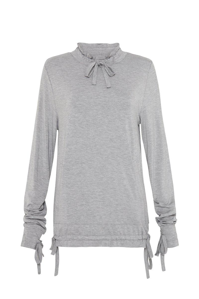 Steely Spinae long sleeve adjustable top with self ties, light grey, bamboo, front view