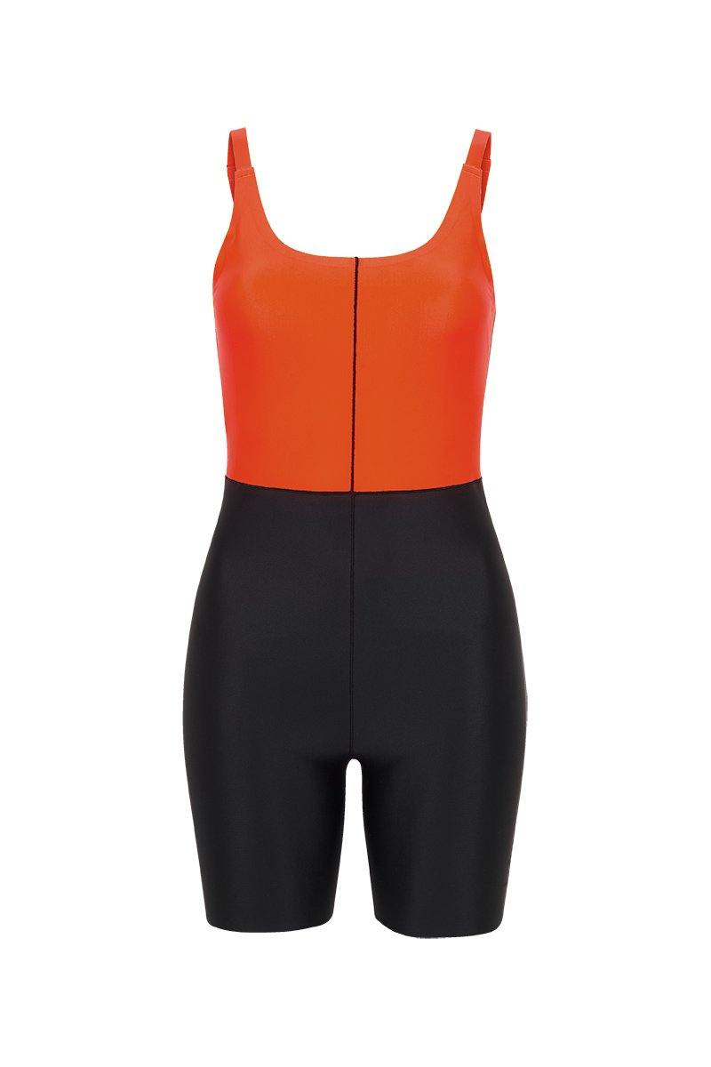 Sergeant Olive Rectus short Bodysuit black and orange worn high at front and low back, front view for pilates, barre, dance, yoga, gym workout