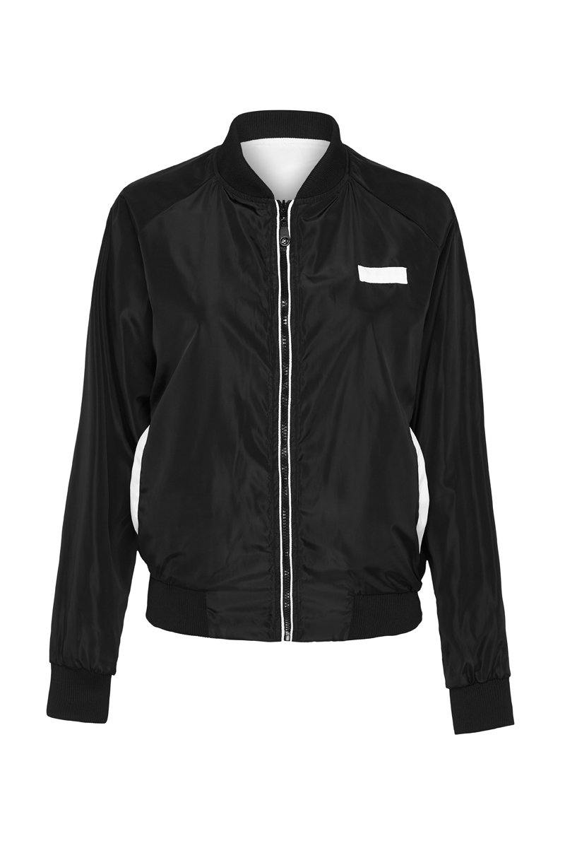 COMPANION PIKE REVERSIBLE JACKET, BLACK OUTER, WHITE INNER, BLACK FRONT VIEW