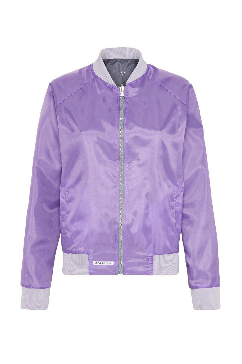 STEELY PIKE REVERSIBLE JACKET,  GREY OUTER,  PURPLE INNER, BACK VIEW