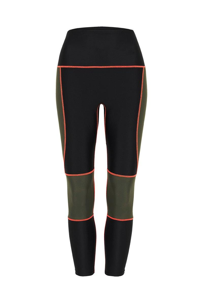 Sergeant Olive GRACILIS 7/8 HIGH WAISTED LEGGING Black WITH CONTRAST PANELS Olive and orange stitching, front VIEW for pilates, barre, yoga, dance, gym-workouts