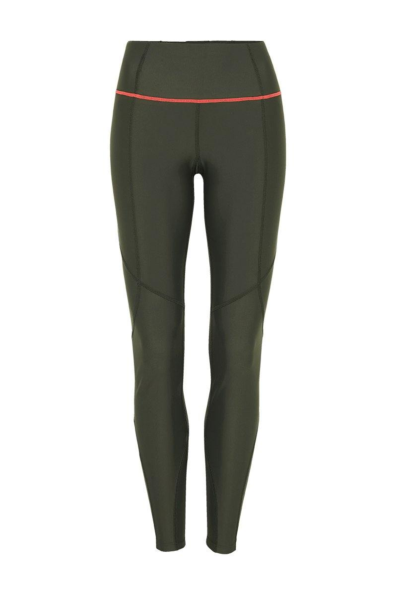Sergeant Vastus mid waist long army Olive legging with contrast orange stitching between legs and waistband front view, for pilates, barre, yoga, gym and studio workouts