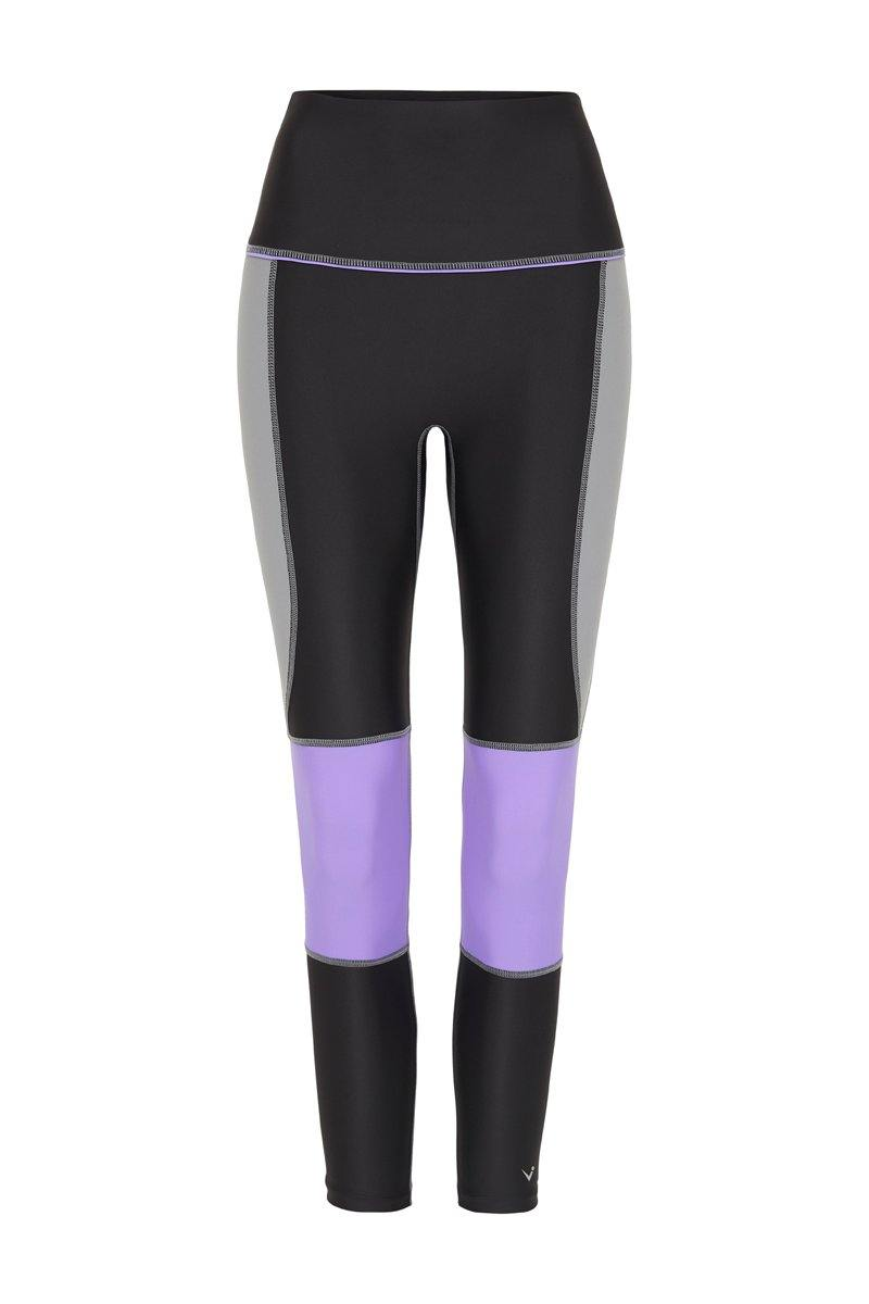 STEELY GRACILIS 7/8 High waisted LEGGING LIQUORICE GREY WITH CONTRAST PANELS, FRONT VIEW