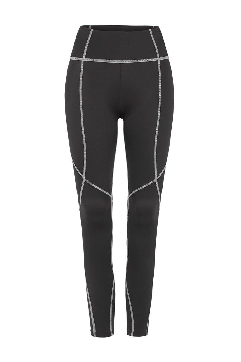 Steely Vastus mid waist long legging with contrast stitching, front view
