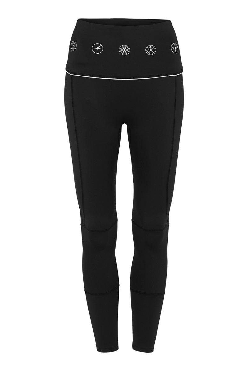 Companion GRACILIS 7/8 LEGGING BLACK WITH WHITE SYMBOLS CORE FRONT VIEW
