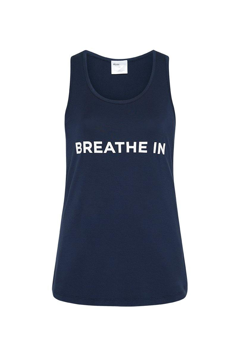 She of the Sea RHOMBOIDEUS Navy TANK TOP,  message on front in white reads BREATHE IN and on the back message is BREATHE OUT, front view. Great for yoga, pilates, barre, physicore and all gym workouts