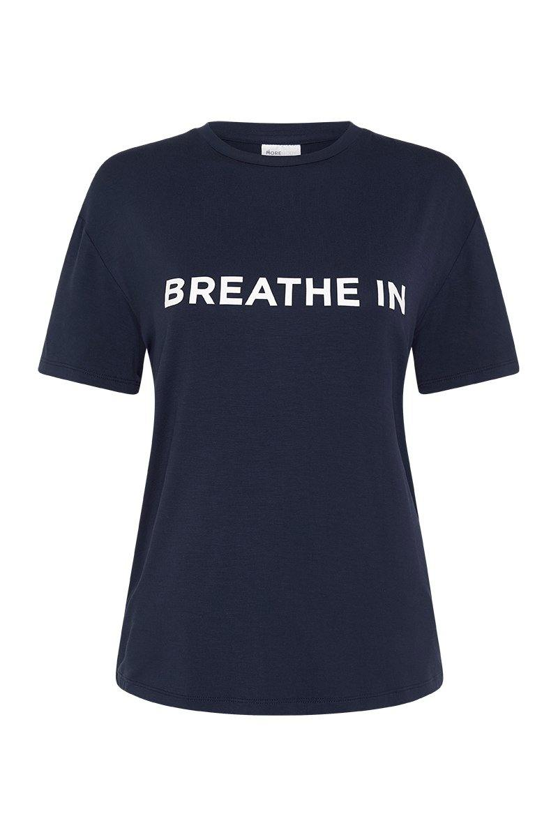 Femininely SCAPULAE Bamboo T-SHIRT, Navy blue WITH WHITE MESSAGING, FRONT VIEW