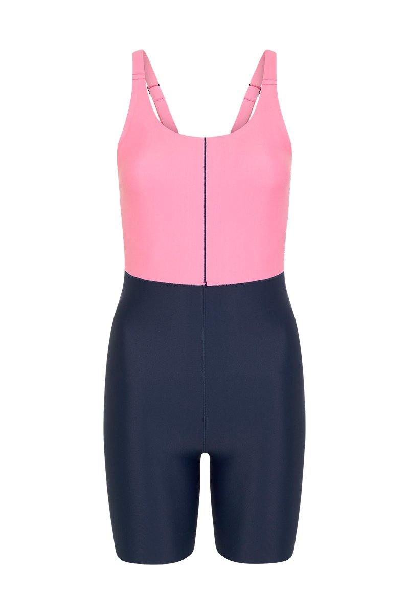 Femininely Rectus short Bodysuit worn high at front and low back, front view for pilates, barre, dance, yoga, gym workout