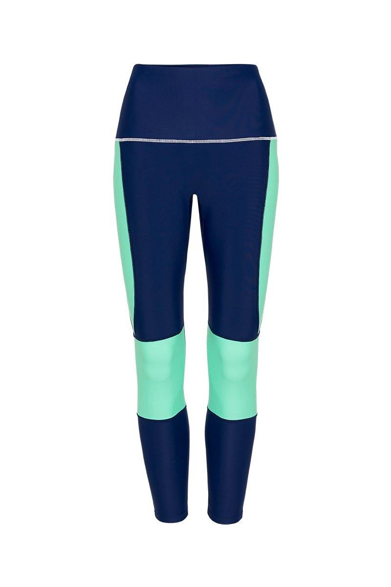 She of the Sea GRACILIS 7/8 HIGH WAISTED LEGGING Night Blue WITH CONTRAST PANELS in Ocean Green and highlight white stitching. Front VIEW, for pilates, barre, yoga, dance, gym-work