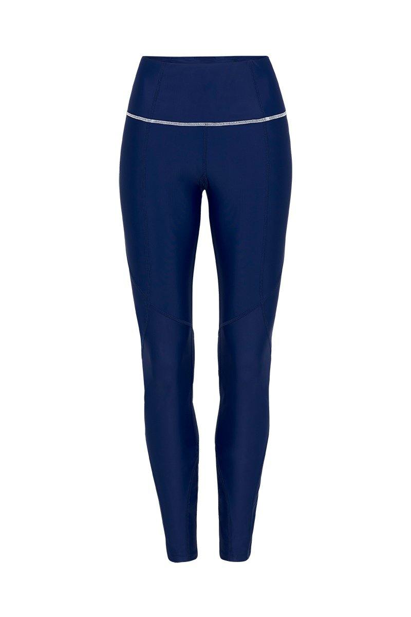 She of the Sea mid waist long Night Blue legging with contrast white stitching between legs and waistband,  front view, for pilates, barre, yoga, gym and studio workouts