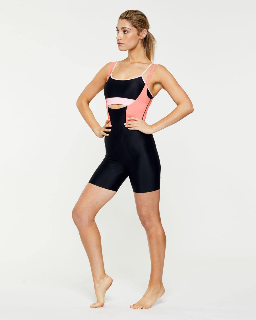 Warrior Rectus short Bodysuit worn low front over Infraspinatus active top and high back, front view