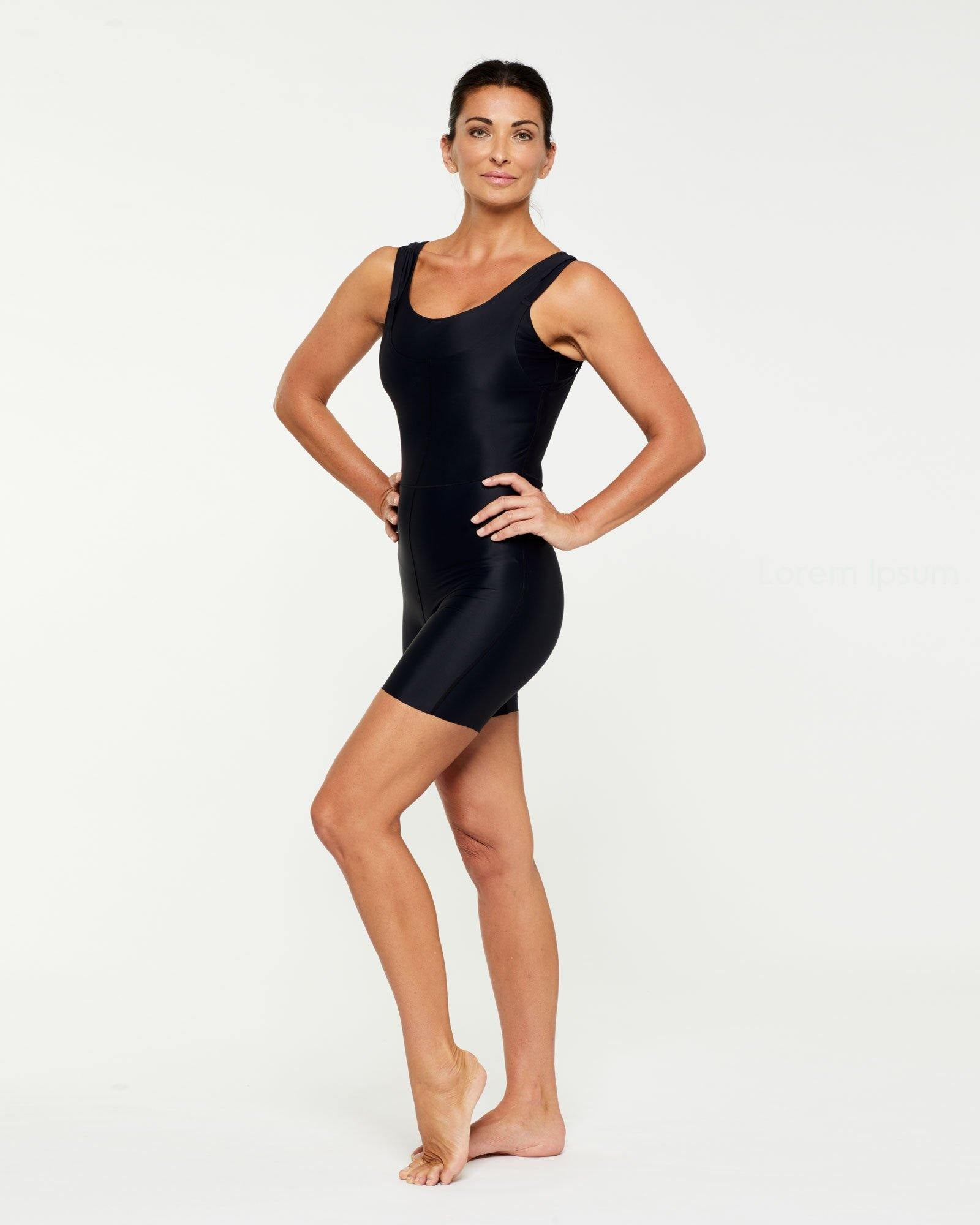 Companion RECTUS SHORT BODYSUIT worn high front low back, side view