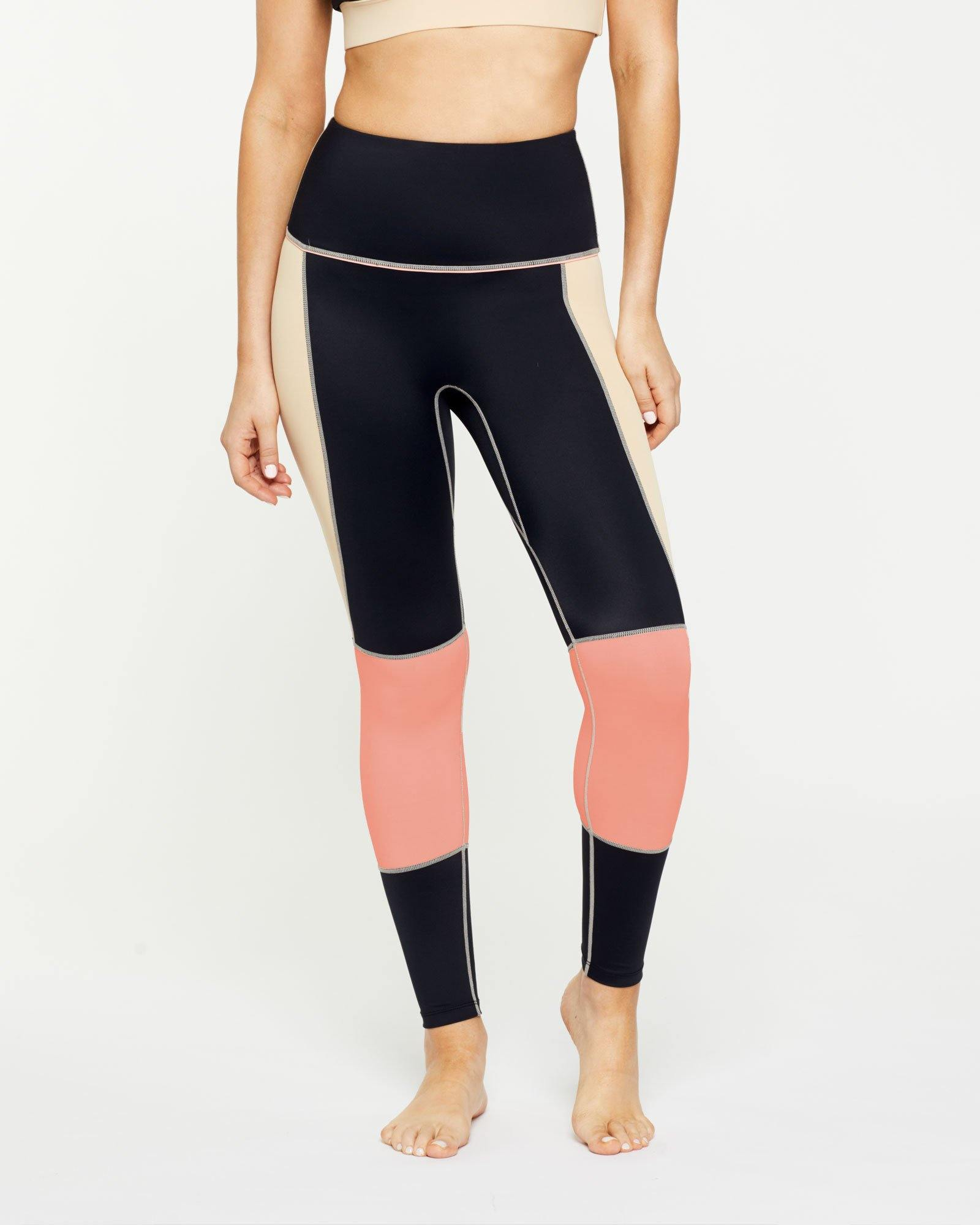 Warrior GRACILIS 7/8 High waisted LEGGING BLACK WITH CONTRAST PANELS, FRONT VIEW