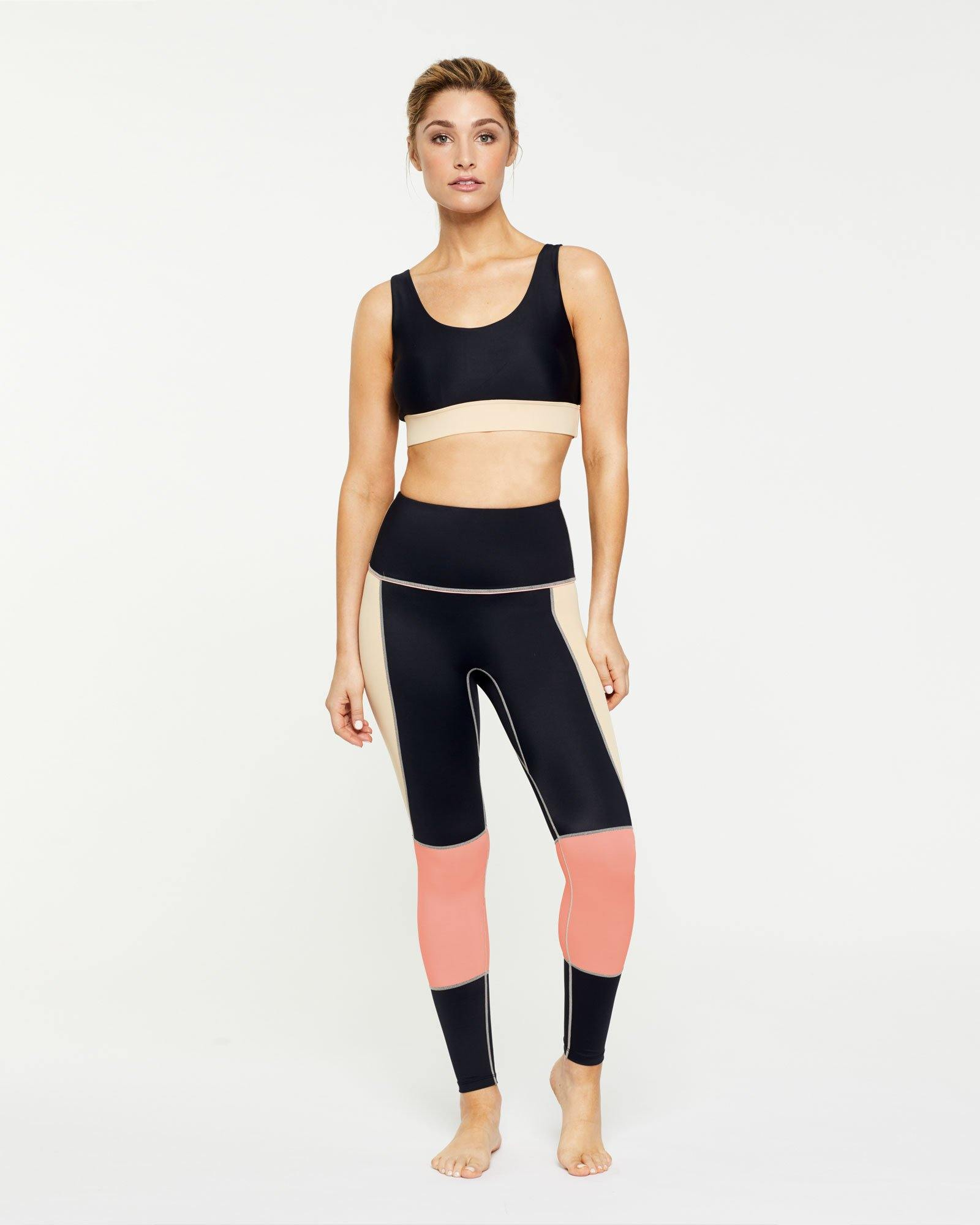 WARRIOR GRACILIS 7/8 HIGH WAISTED LEGGING BLACK WITH CONTRAST PANELS WORN WITH PECTORALIS BRA TOP, FRONT VIEW