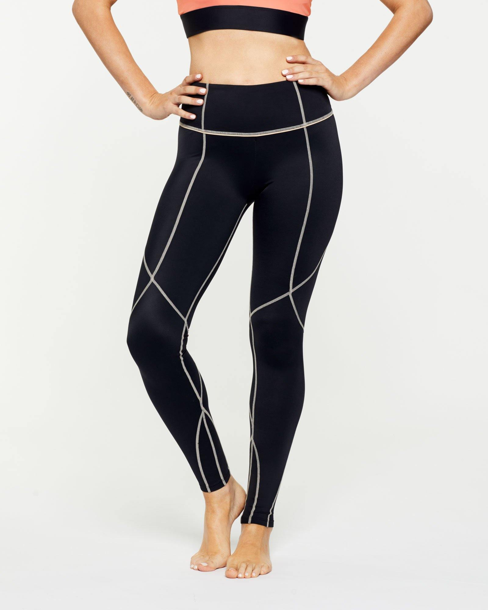 Warrior Vastus mid waist full length legging with contrast stitching, front view