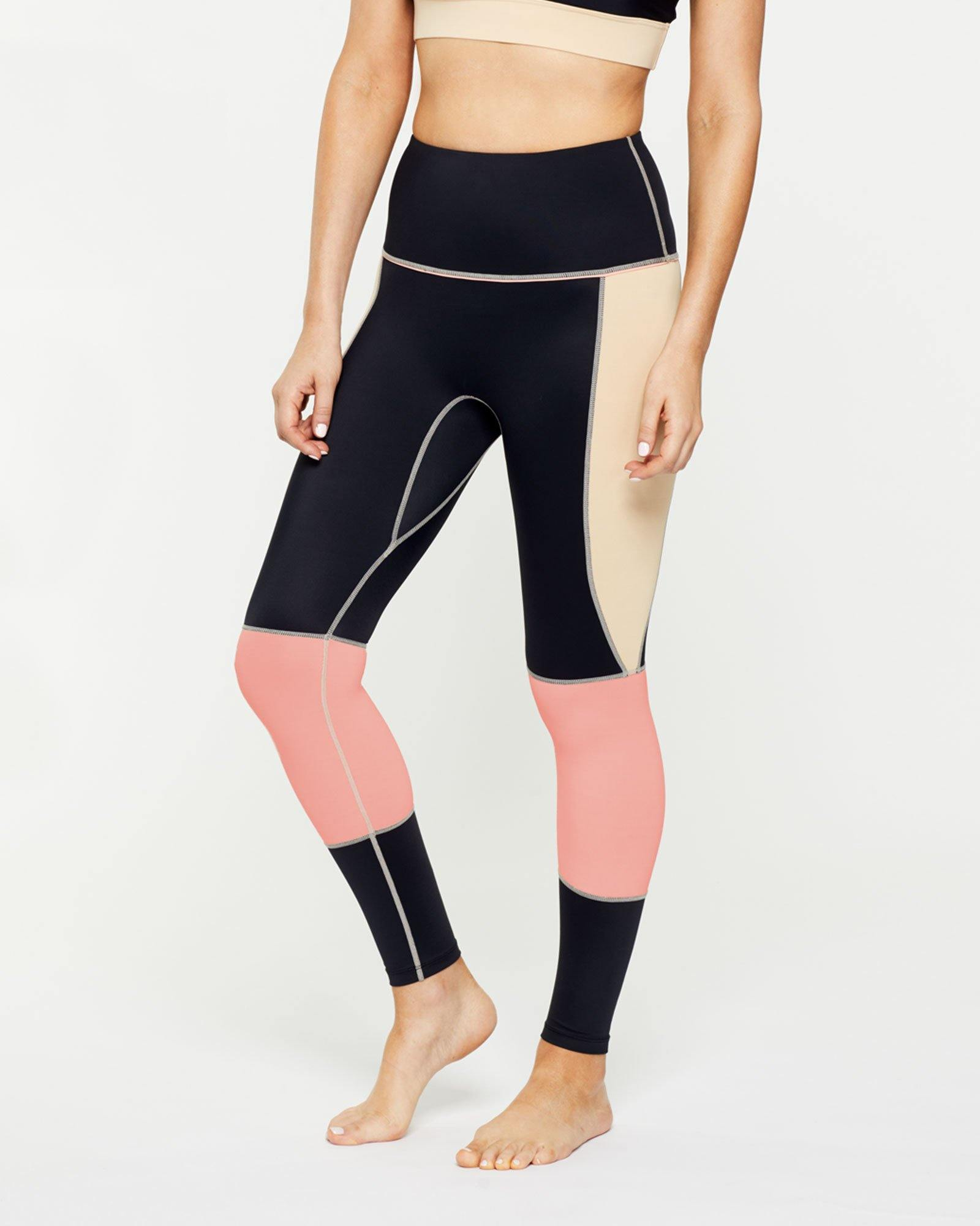 Warrior GRACILIS 7/8 HIGH WAISTED LEGGING BLACK WITH CONTRAST PANELS, SIDE VIEW