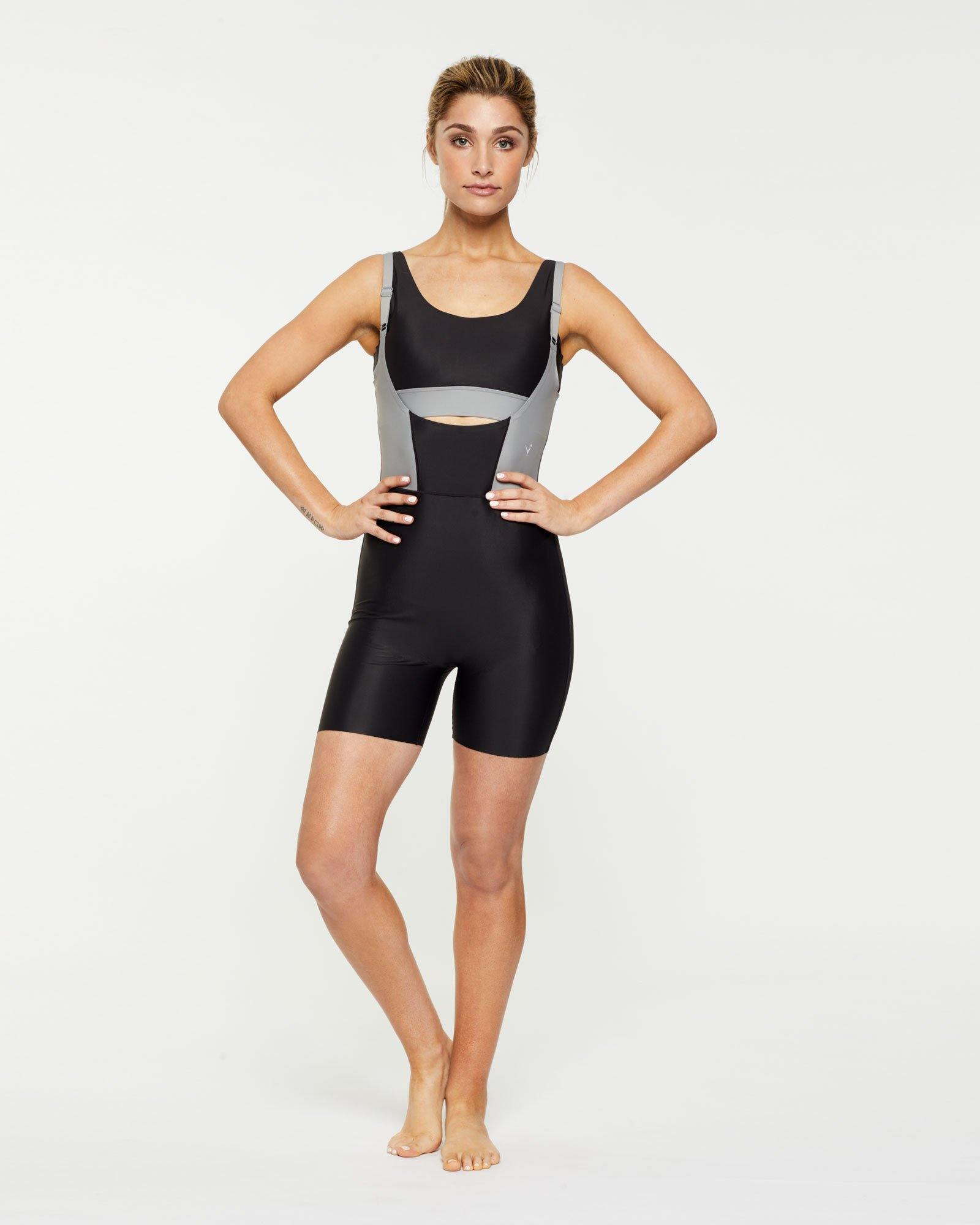 Steely Rectus short Bodysuit worn low front over Pectoralis active top and high back, front view