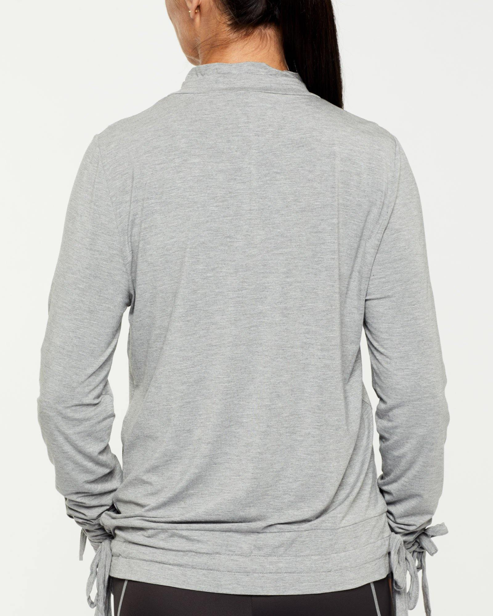 Steely Spinae long sleeve adjustable top with self ties, light grey, bamboo worn with Vastus mid waist full length legging, back view