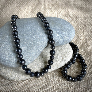 Long Black Shungite Round Bead Necklace, 29 Inches, EMF Protection
