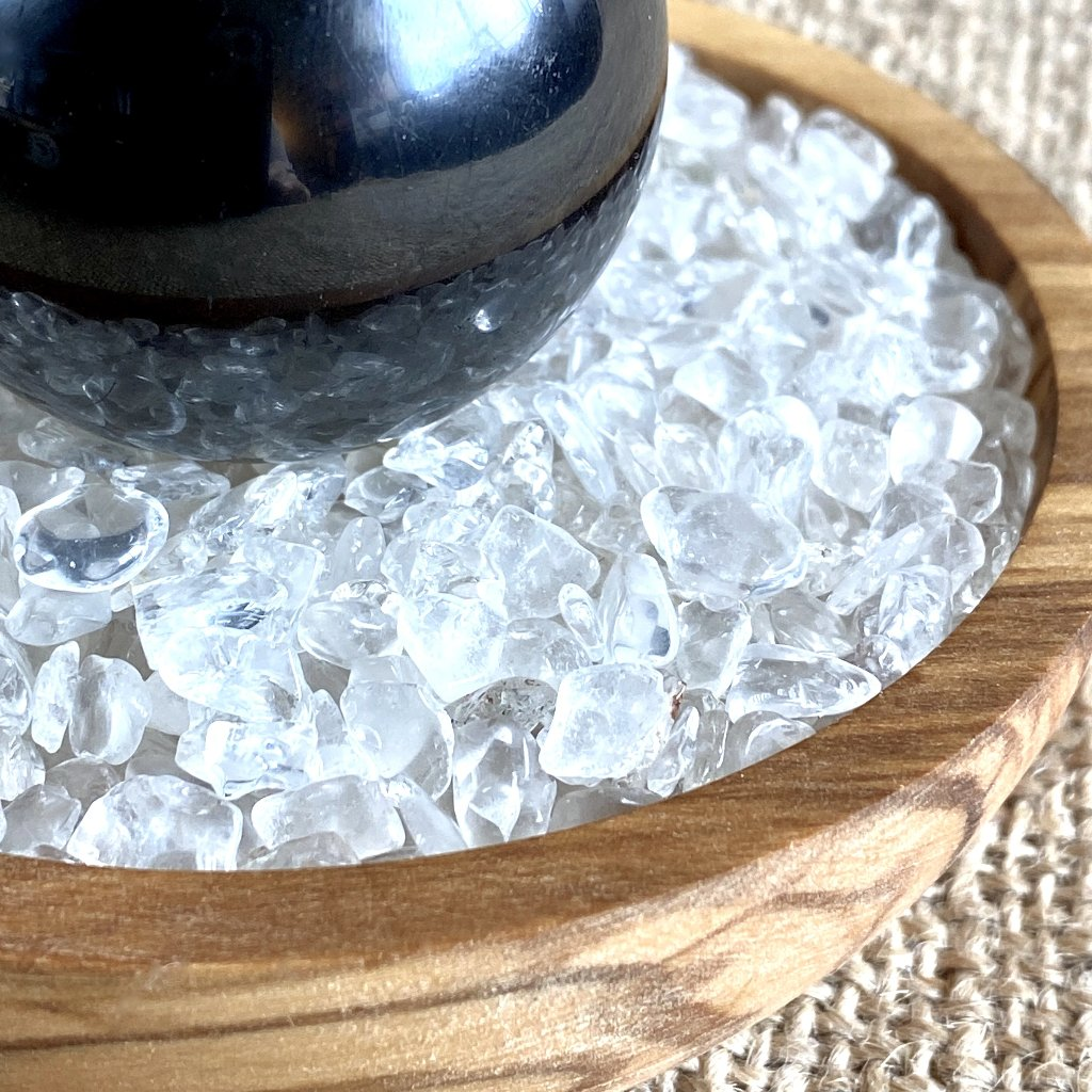 Shungite Sphere on Bed of Microtumbled Crystal in Olive Wood Bowl, EMF - Shungite Queen