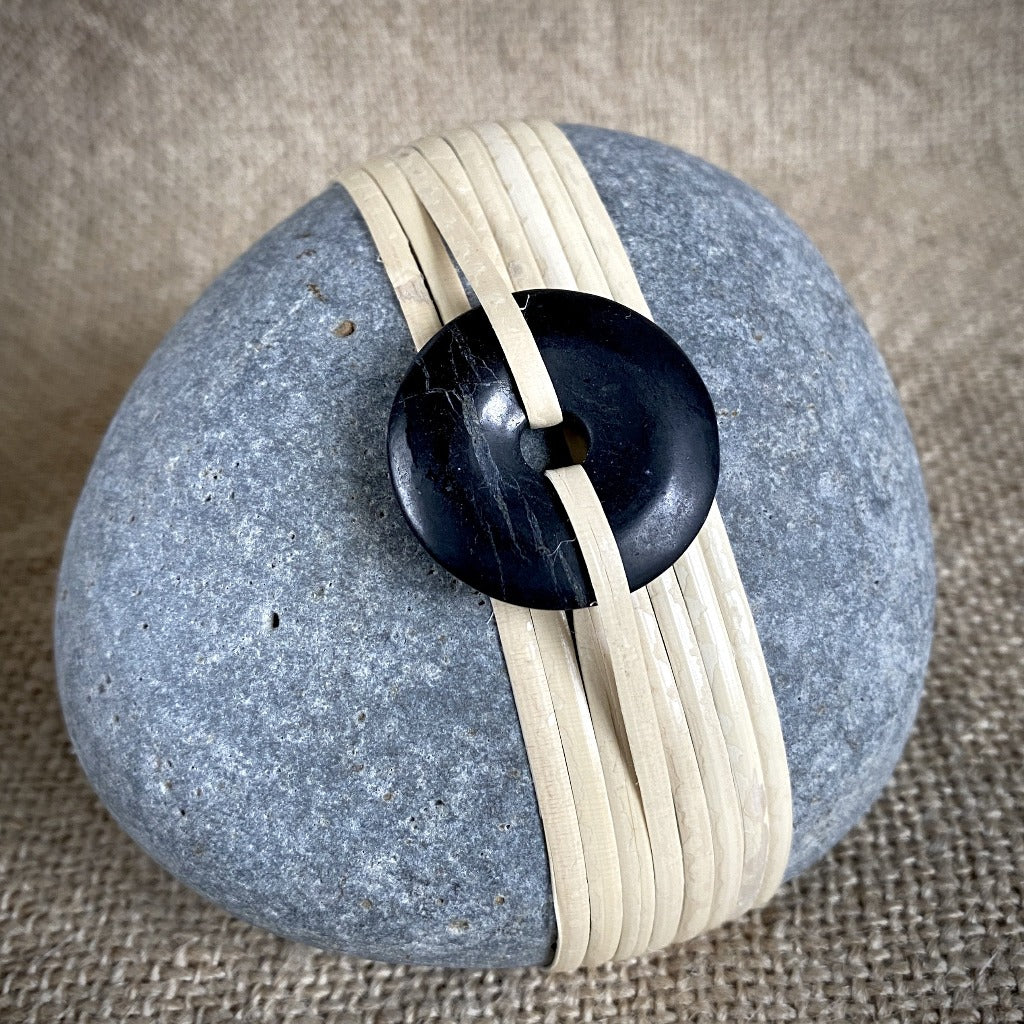 Wrapped Rock, Shungite Donut, Natural Cane, EMF Protection