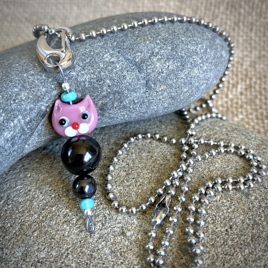 Pink Cat Shungite Necklace on Silver Ball Chain, Clip-On EMF Accessory, Kids