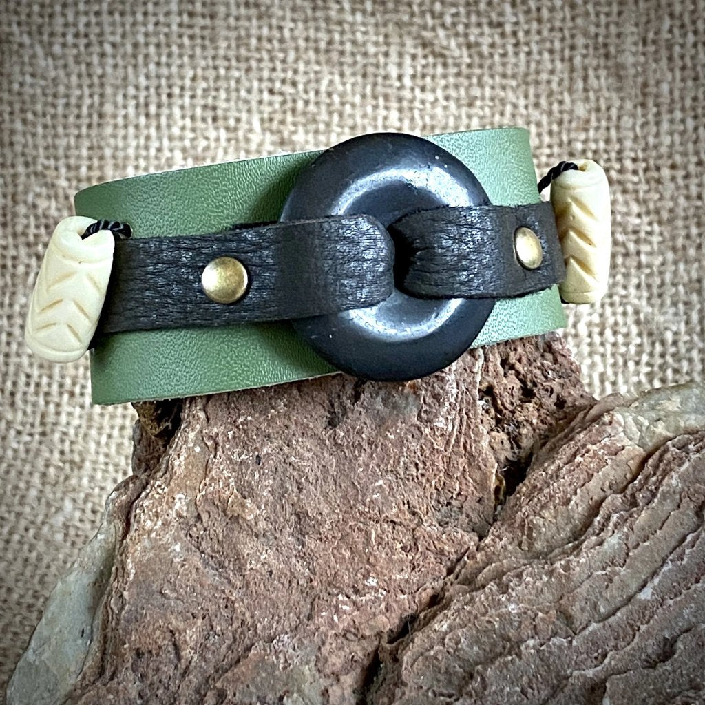 Green Leather Cuff Bracelet w/30mm Shungite Donut & Carved Bone Beads - Shungite Queen