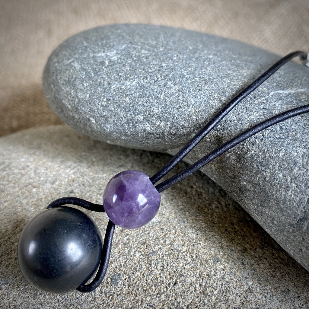 Shungite & Amethyst Rearview Mirror Dangle, Car Accessory, EMF - Shungite Queen