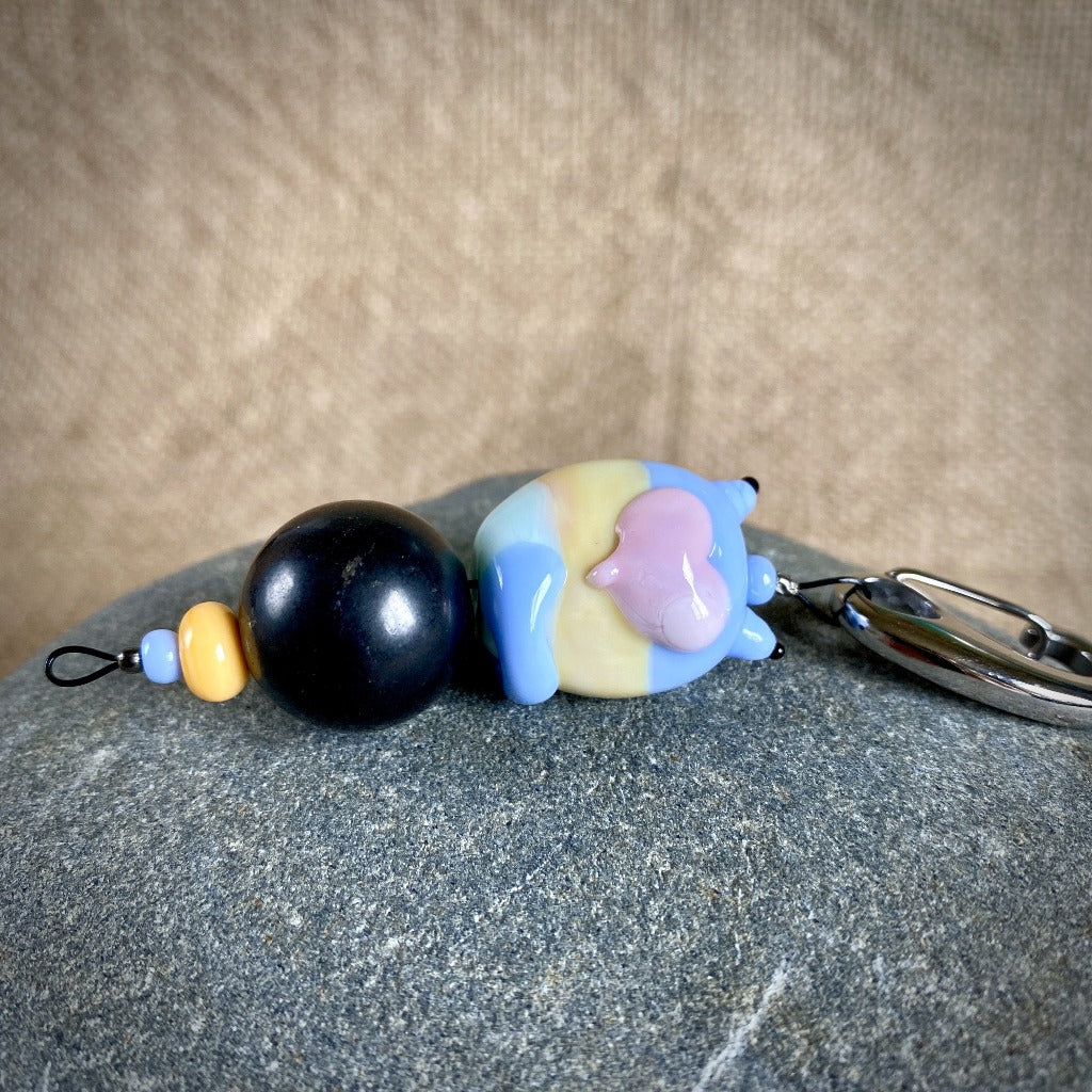 Shungite Cat Clip-On, Blue & Yellow, Lampwork Glass, Fun EMF Protection