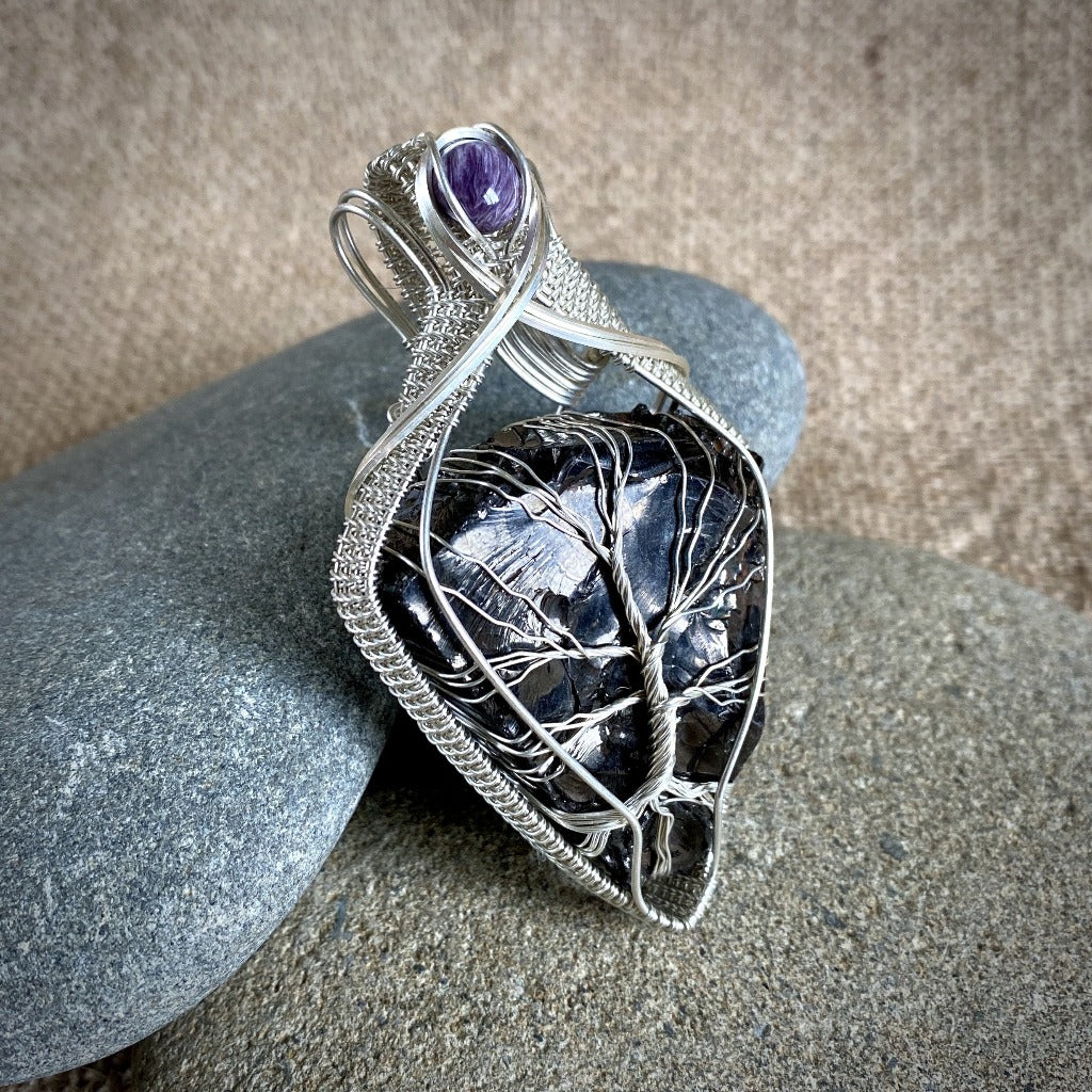 Elite Shungite Pendant, Charoite, Tree of Life Argentium Silver Setting