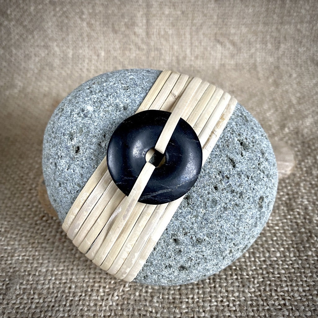 Wrapped Rock, Shungite Donut, Natural Cane, Gray, Pitted Texture