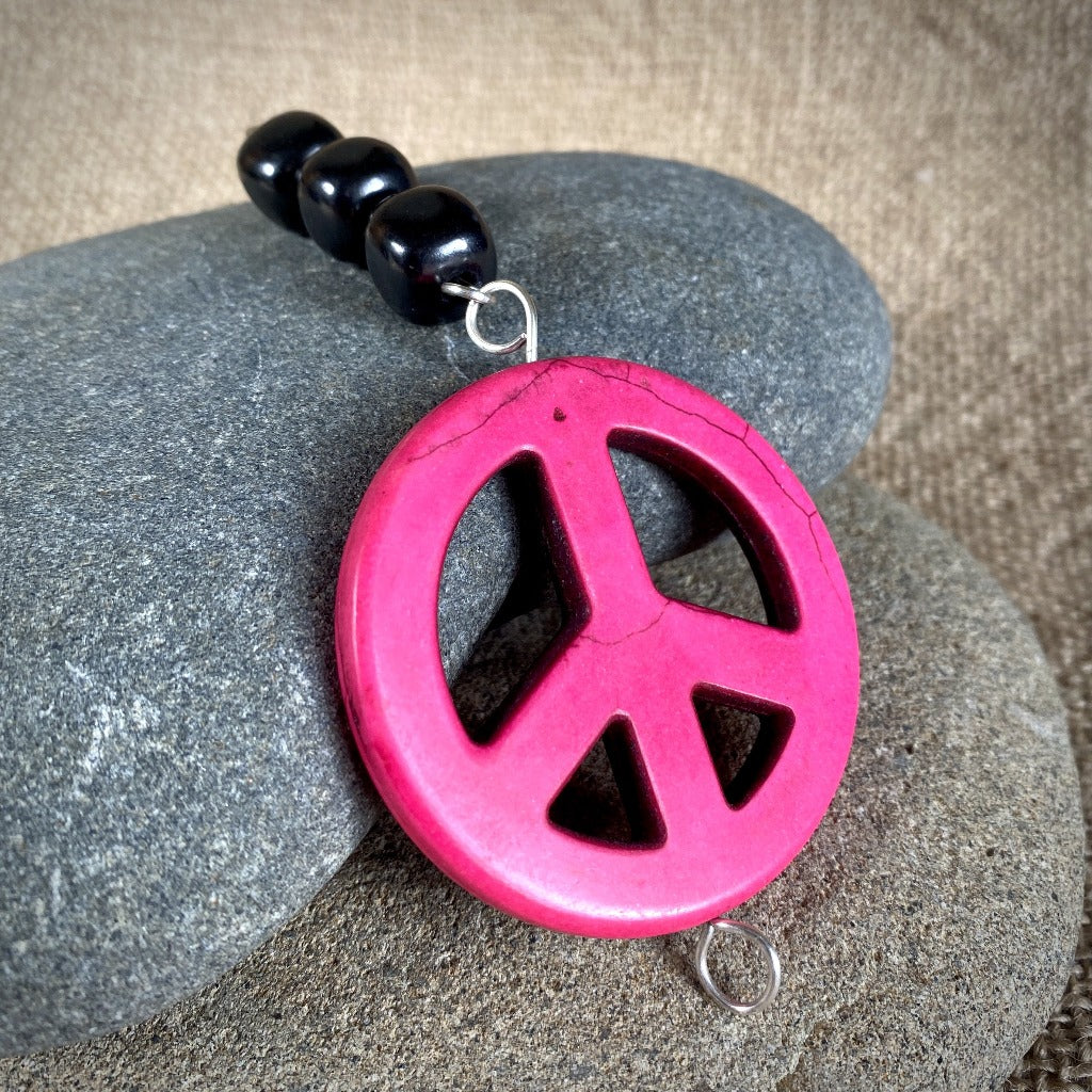Hot Pink Peace Sign & Shungite Plant Stake - Good Garden Vibes