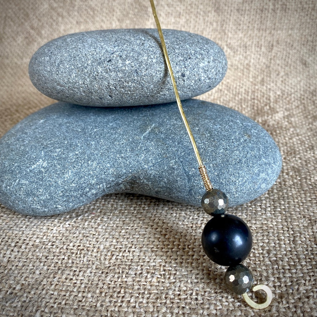 Shungite Plant Stake With Faceted Natural Pyrite Beads, EMF Protection