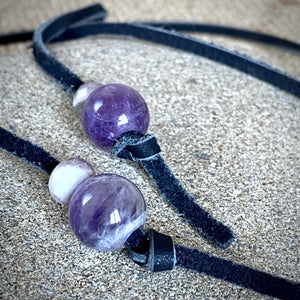 Lariat Style Shungite Necklace w/Eclipse Pendant & Amethyst Beads