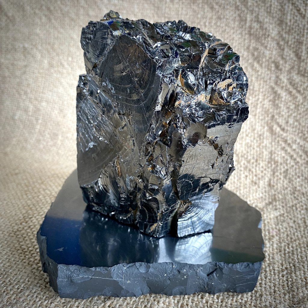 Huge Elite Shungite Nugget, 526g, on Polished Rough Edge Shungite Slab
