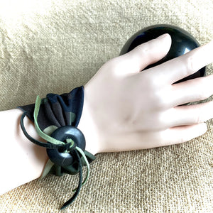 Stretchy Camo Fabric Bracelet, Shungite Donut, Green & Black Ties