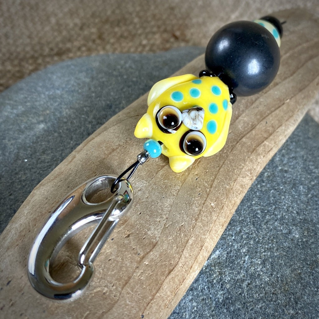 Shungite Owl Clip-on, Yellow & Turquoise, Artisan Lampwork Glass Bead