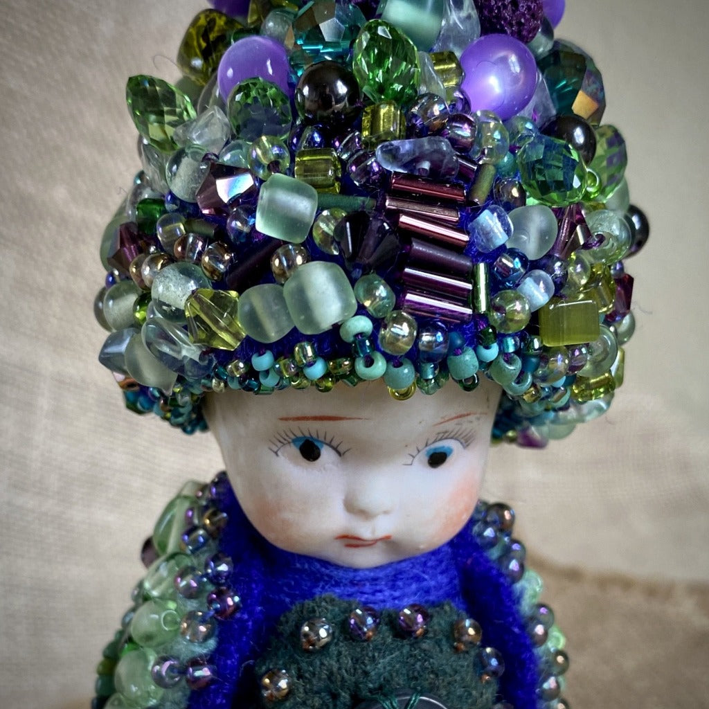 Vintage Shungite Bird Doll, Pouty Face, Upcycled Wool, Beaded, Blue & Green - Shungite Queen
