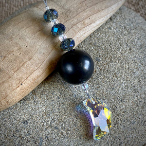 Shungite Ornament w/Sparkly Moon Swarovski Crystal, EMF Protection