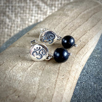 Shungite & Sterling Silver Ohm Post Earrings, EMF Protection