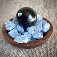 Shungite Sphere & Celestite in Custom Wood Bowl, EMF & Spiritual Detox