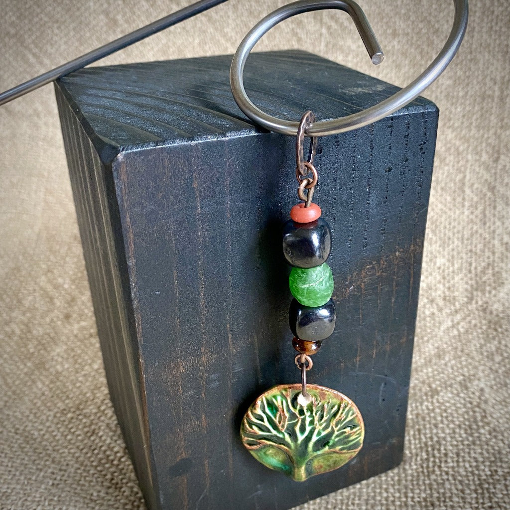 Tree of Life & Recycled Glass Shungite Plant Stake, EMF Protection