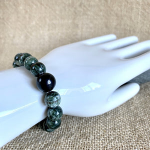 Seraphinite Bracelet With Shungite, Chunky Round Beads, Stretchy